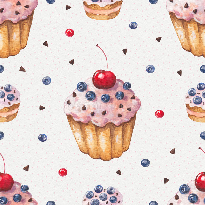 Watercolor colorful cupcake. Seamless pattern stock illustration