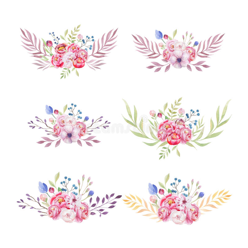 Watercolor colorful ethnic set of bouquet flowers in native Amer stock illustration