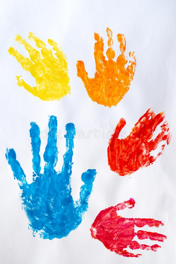 Watercolor colorful hand print on white background stock image