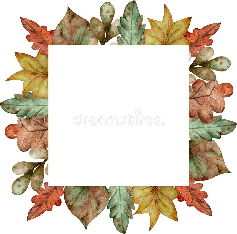 Watercolor colorful square frame of autumn leaves isolated on white background. Cartoon style illustration. vector illustration