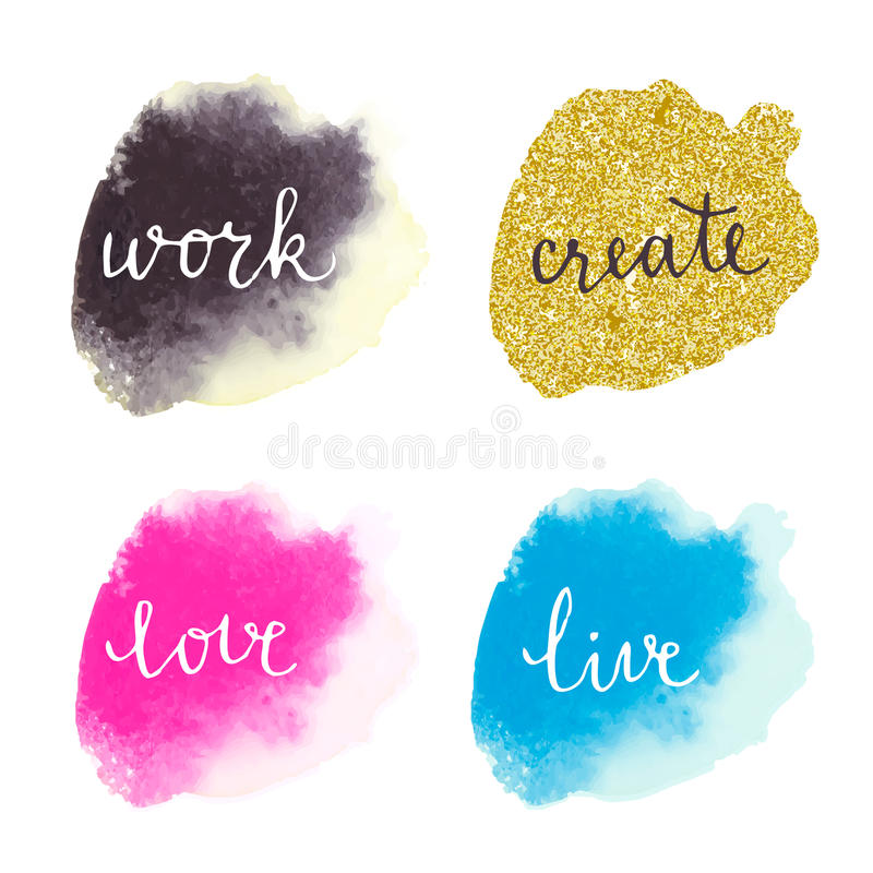 Watercolor colorful stains with motivation stock illustration