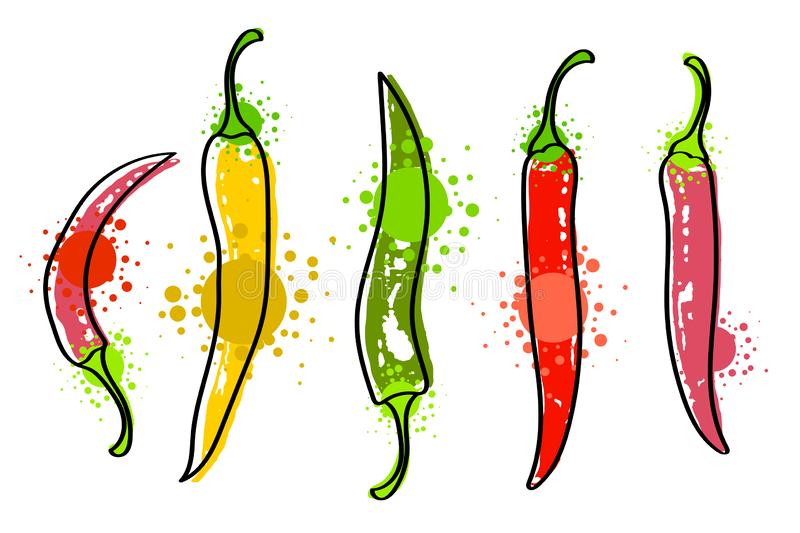 Watercolor colorful vegetables set red chili pepper, close-up isolated on white background. Hand painted on paper royalty free illustration