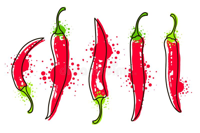 Watercolor colorful vegetables set red chili pepper, close-up isolated on white background. Hand painted on paper stock illustration