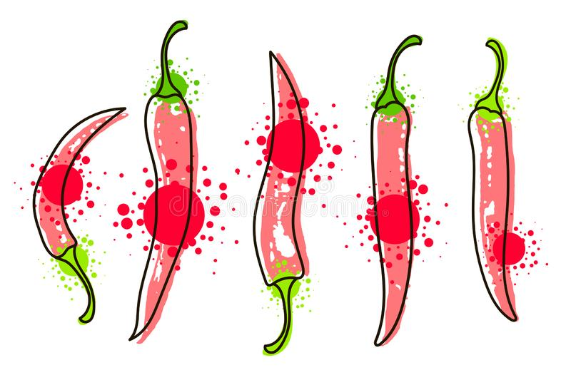 Watercolor colorful vegetables set red chili pepper, close-up isolated on white background. Hand painted on paper vector illustration