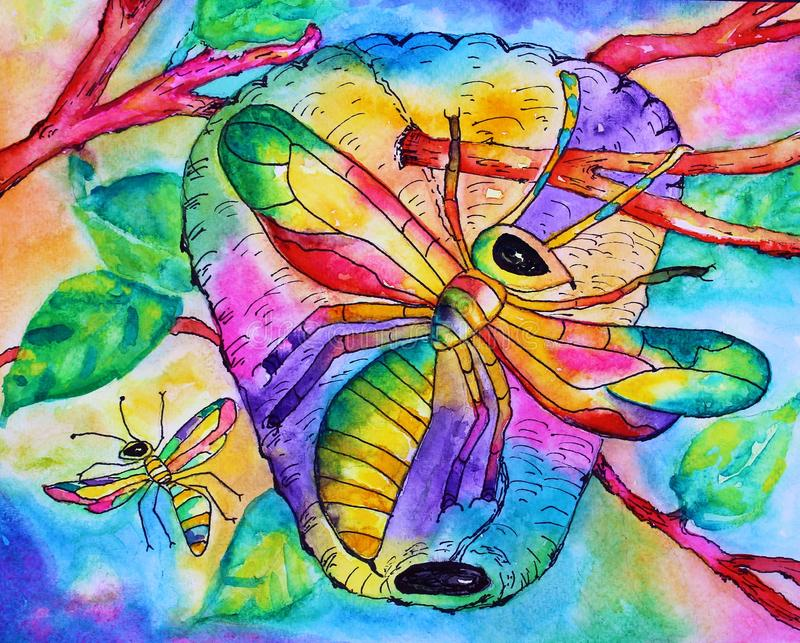 Watercolor. Colorful vibrant abstract wasps with wasp nest hanging from tree limbs hand painted watercolor vector illustration