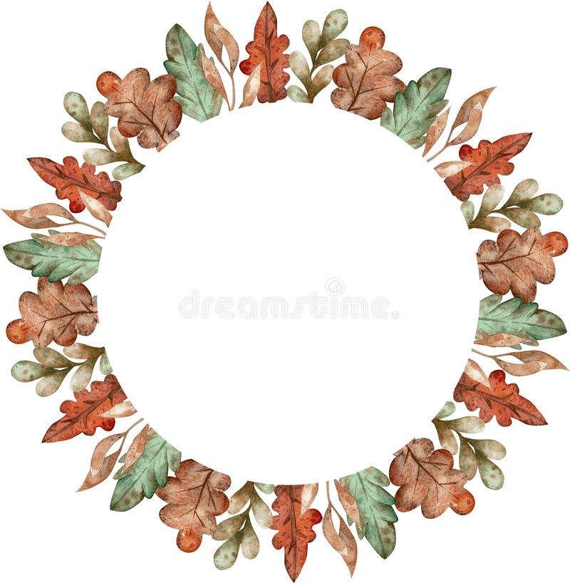 Watercolor colorful wreath of autumn leaves isolated on white background. Cartoon style illustration. royalty free illustration