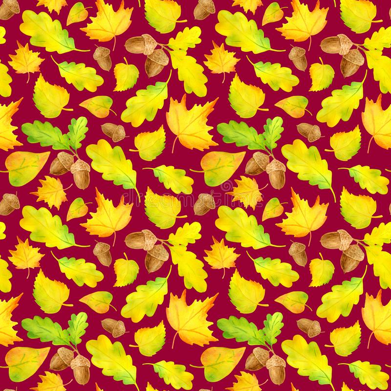 Watercolor colorful yellow autumn leaves seamless pattern. Hand drawn illustration with acorn, maple, alder, oak leaf on white stock illustration