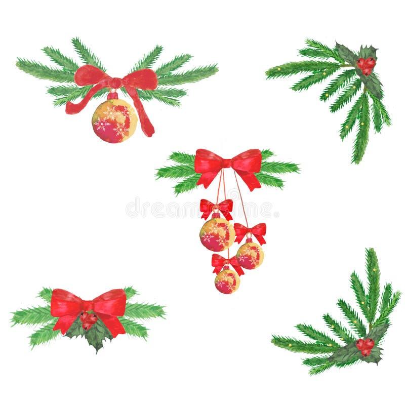 watercolor Composição do Natal de ramos, de bolas e de curvas do abeto ilustração royalty free