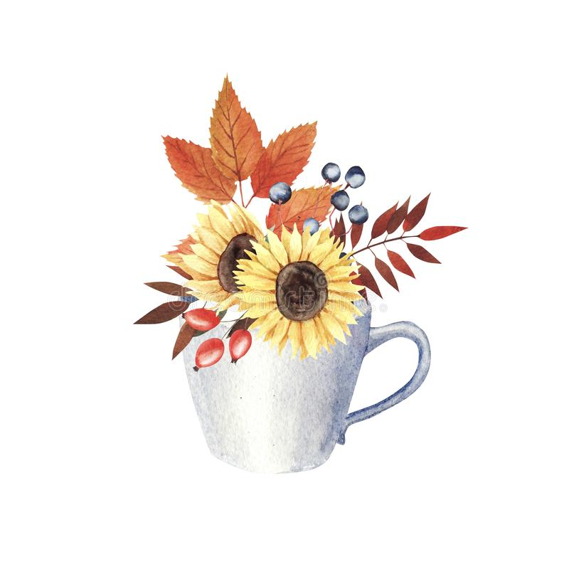 Watercolor composition with leaves and berries. Autumn Bouquet with flowers and leaves in white porcelain cup stock illustration
