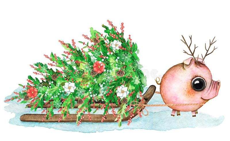 Watercolor composition with piglet, sleigh, snow and Christmas t royalty free illustration