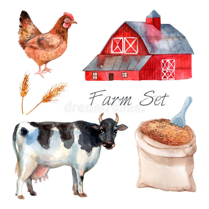 Watercolor Concept Farm Set stock illustration