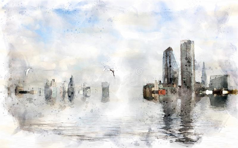Watercolor conceptual image of the city of london with buildings flooded due to global warming and rising sea levels and gulls vector illustration
