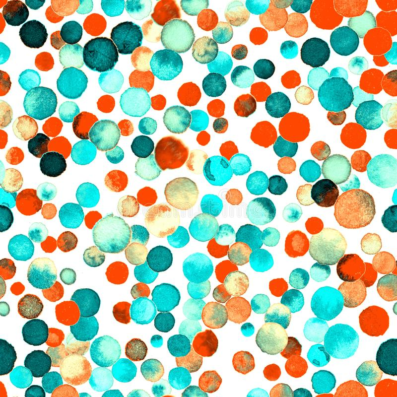 Watercolor confetti seamless pattern. royalty free stock image