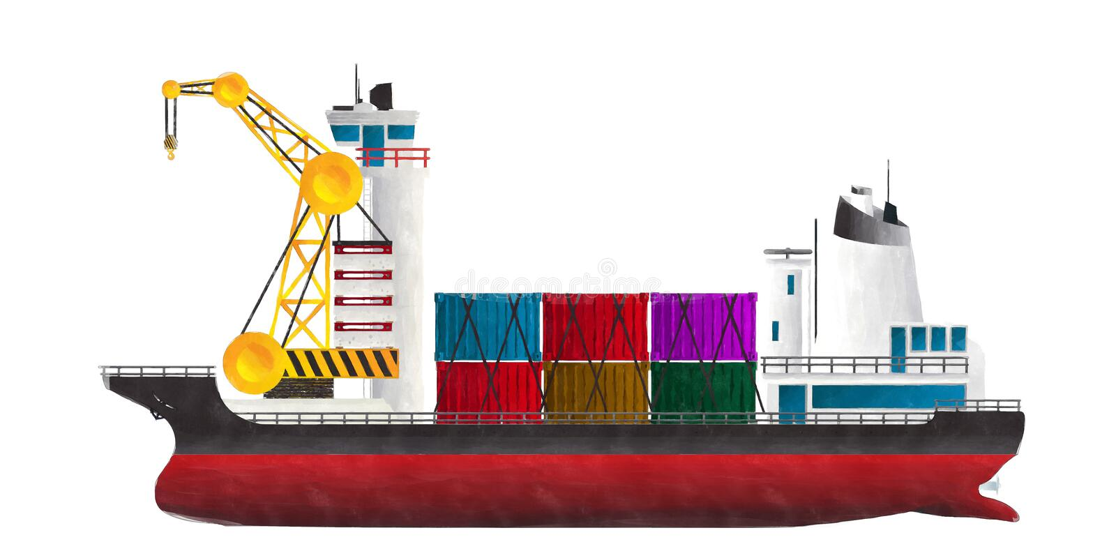 Watercolor container ship. Watercolor style drawing of container ship against white background stock illustration