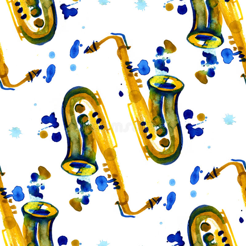Watercolor copper brass band saxophone seamless pattern on white background royalty free illustration