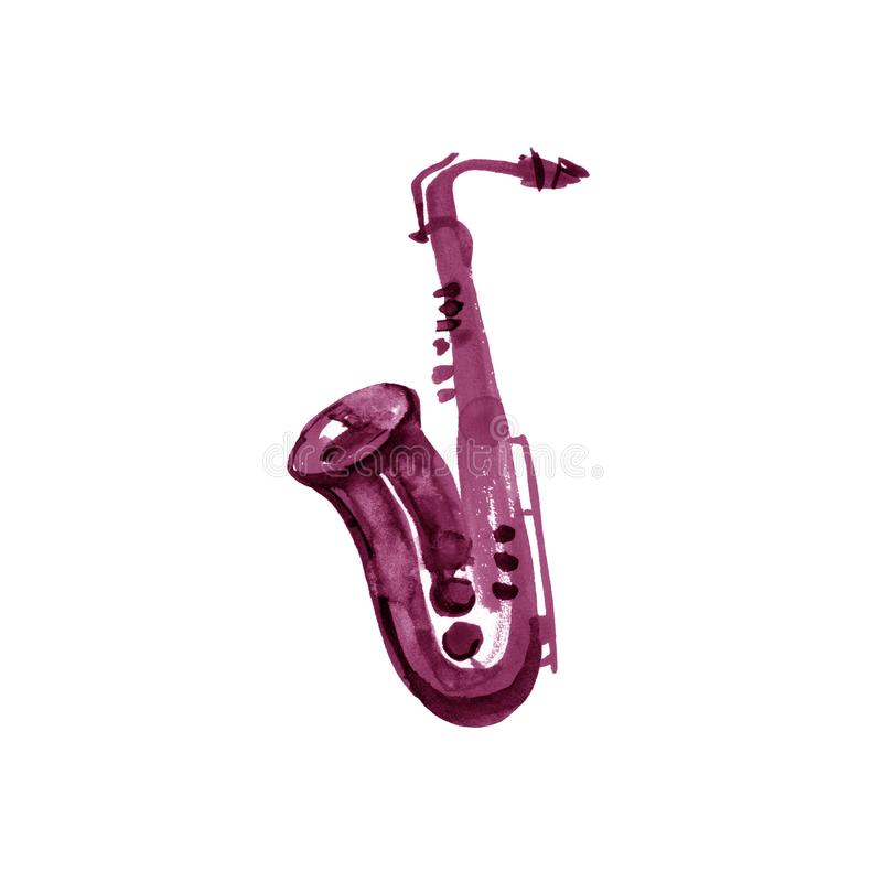 Watercolor copper brass band saxophone on white background. Maroon, burgundy, claret, vinous, purple stock illustration