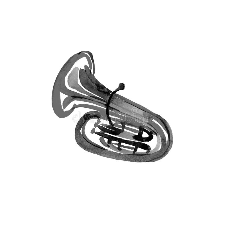 Watercolor copper brass band tuba. Black on white background stock illustration