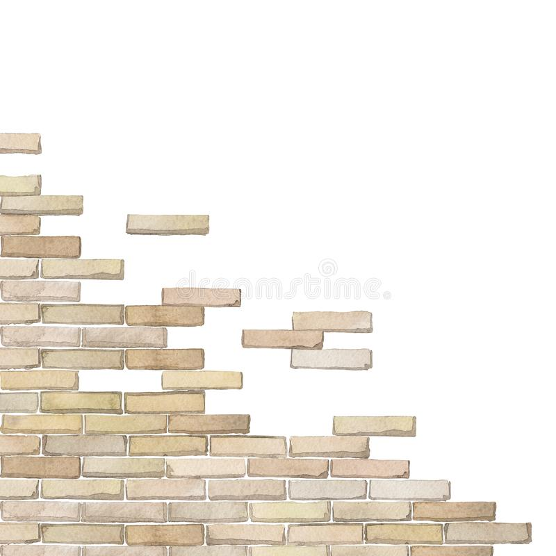 Watercolor corner of the brick wall isolated on white background. Watercolor semi built or half ruined brick wall. Hand painted corner design isolated on white royalty free illustration