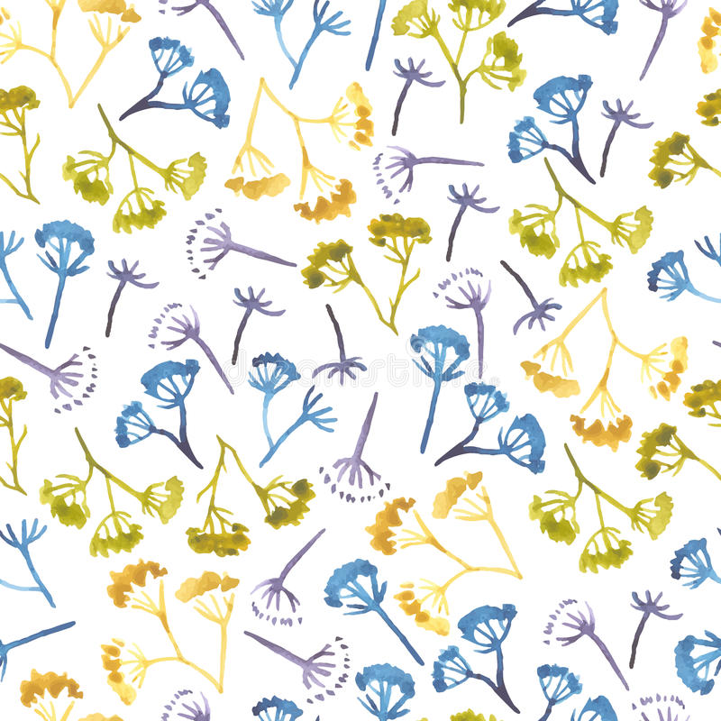 Watercolor corolla dill flower seamless pattern vector illustration