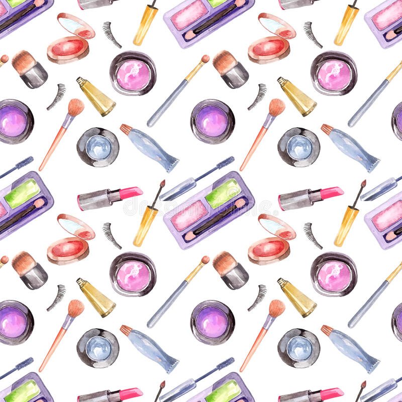 Watercolor cosmetics pattern. Beautiful seamless illustration over white stock illustration