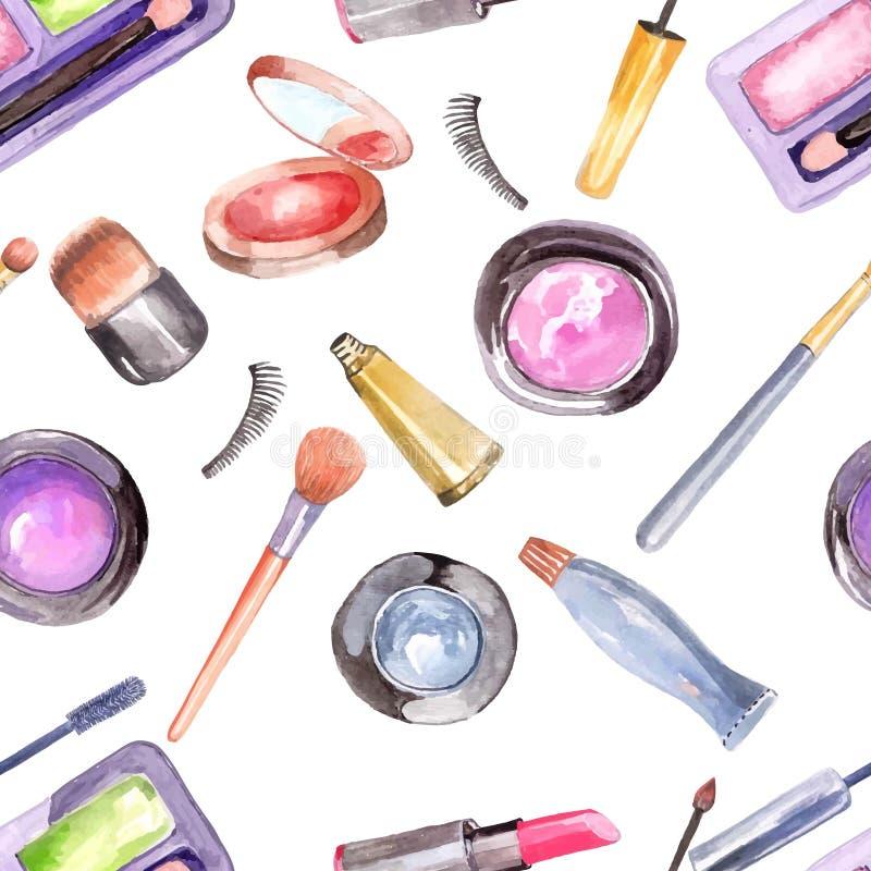 Watercolor cosmetics pattern. Beautiful seamless illustration over white vector illustration