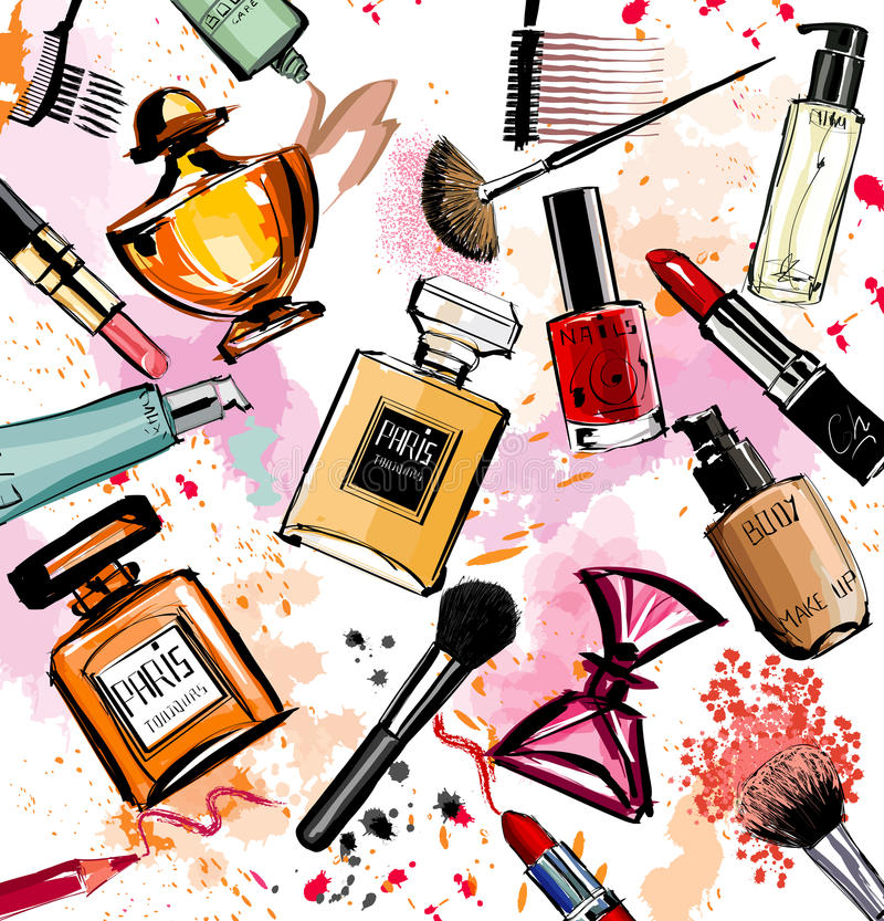 Watercolor cosmetics and perfumes collection. Vector illustration royalty free illustration