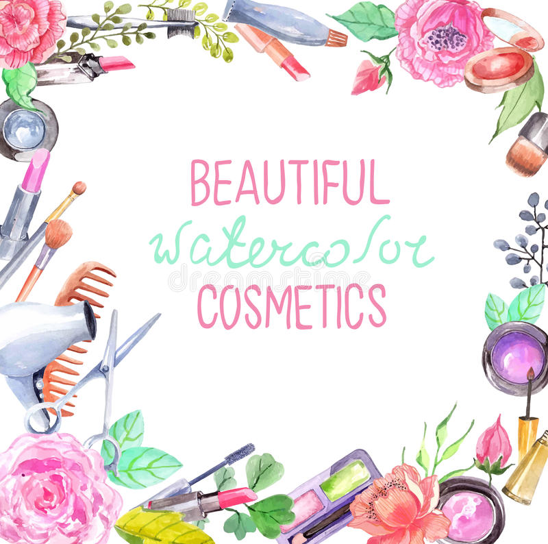 Watercolor cosmetics set. Beautiful frame with flowers over white royalty free illustration