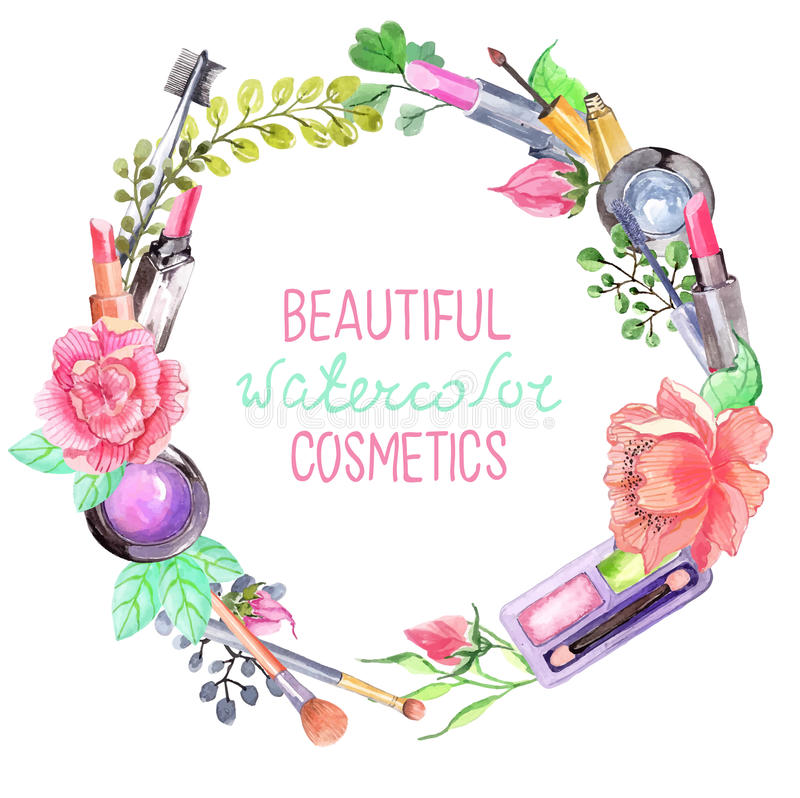 Watercolor cosmetics set. Beautiful wreath with flowers over white royalty free illustration