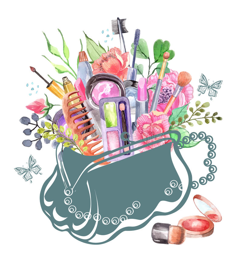 Watercolor cosmetics set. With woman bag and flowers royalty free illustration
