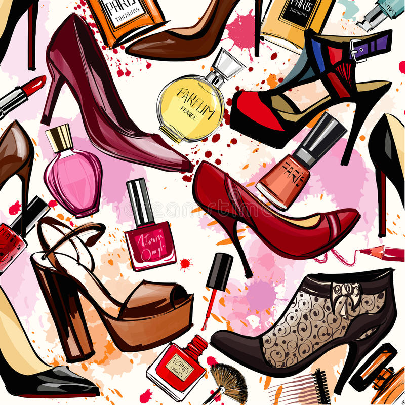 Watercolor cosmetics and shoes collection. Vector illustration stock illustration
