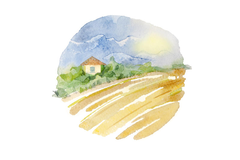 Watercolor countryside landscape in circle composition. Artistic wheat field and village cottage, round illustration isolated on w vector illustration
