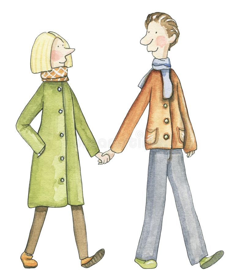 Watercolor couple walk and hold hands. Pair of lovers walk and hold hands isolated on white background. Watercolor hand drawn illustration royalty free illustration