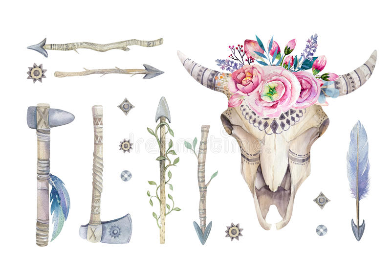 Watercolor cow skull with flowers and feathers decoration. Boho stock illustration