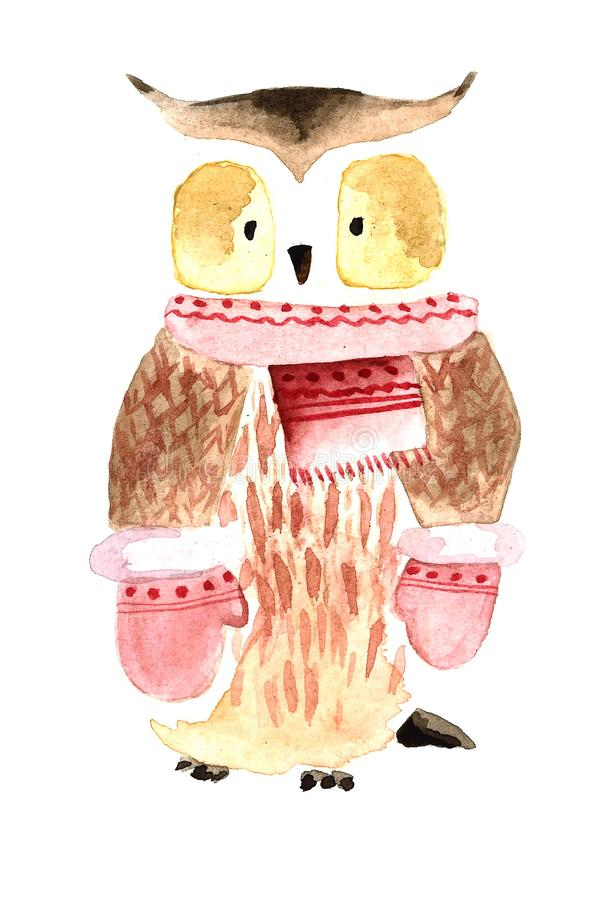 Watercolor Cristmas owl royalty free stock images