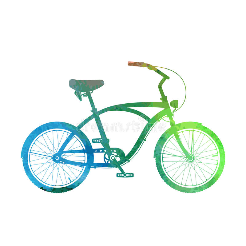 Watercolor cruiser bicycle silhouette. Watercolor cruiser bicycle isolated on white vector illustration