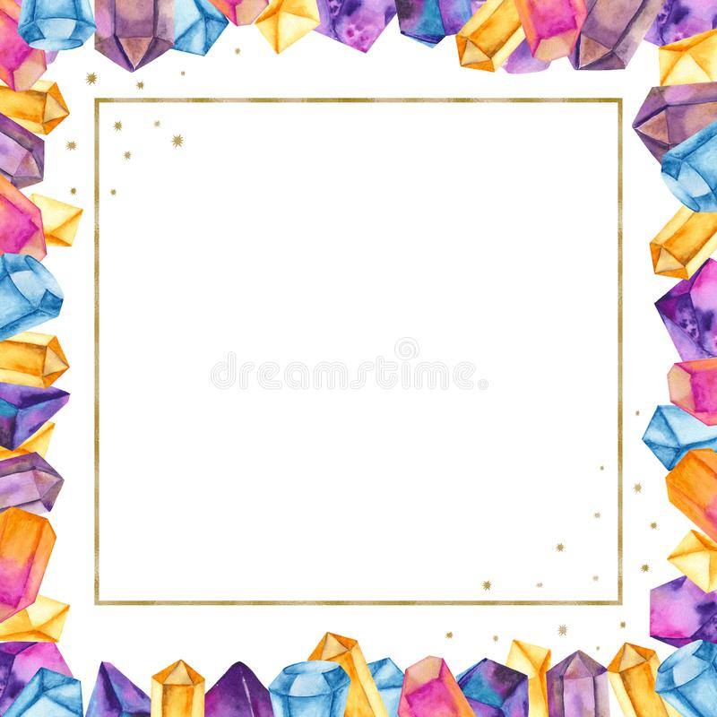 Watercolor crystals in a golden square frame. stock illustration