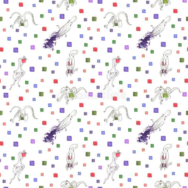 Watercolor cubes and octopus seamless pattern illustration. Watercolor dots background royalty free illustration