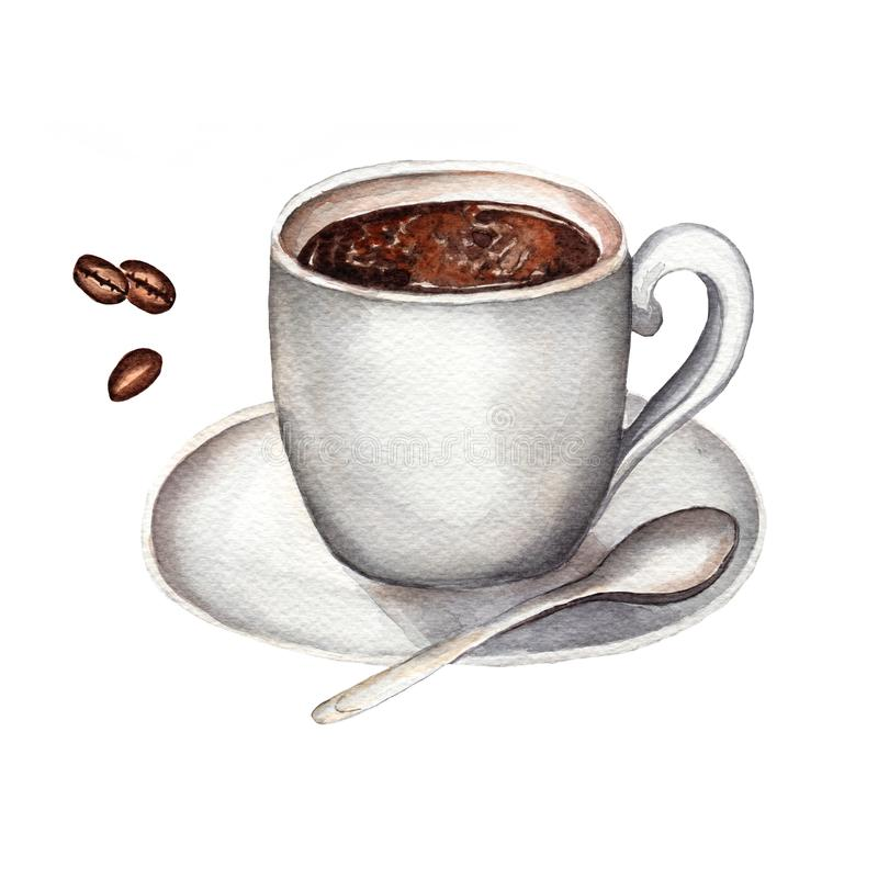 Watercolor cup of  black coffee, spoon and coffee beans isolated on white background. Hand drawn stock illustration