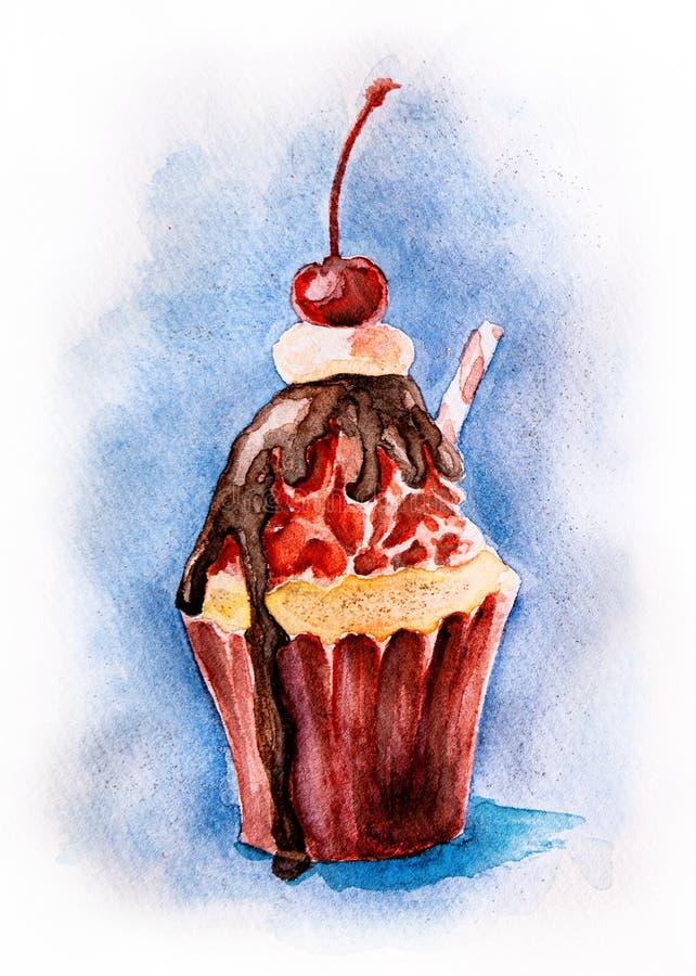 Watercolor cupcake που χρωματίζεται στη συρμένη χέρι απεικόνιση χρωμάτων αμερικανικών σημαιών με το ψαλίδισμα της πορείας Έννοια  ελεύθερη απεικόνιση δικαιώματος