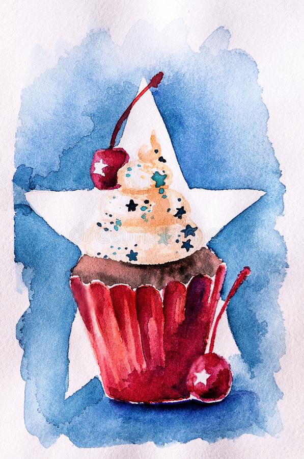 Watercolor cupcake που χρωματίζεται στη συρμένη χέρι απεικόνιση χρωμάτων αμερικανικών σημαιών με το ψαλίδισμα της πορείας Έννοια  διανυσματική απεικόνιση