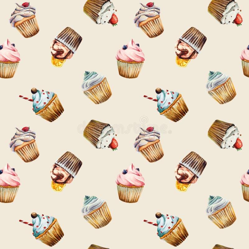 Watercolor cupcake seamless pattern vector illustration