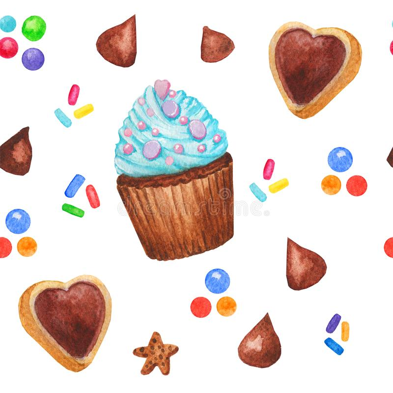 Watercolor cupcake sweets seamless pattern, fairy cake isolated on a white background. Sweet delicious hand drawn bakery illustrat royalty free illustration
