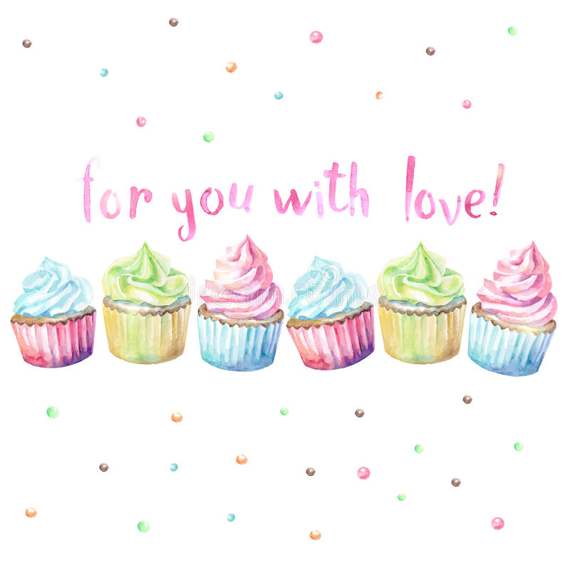Watercolor cupcakes with typography stock illustration