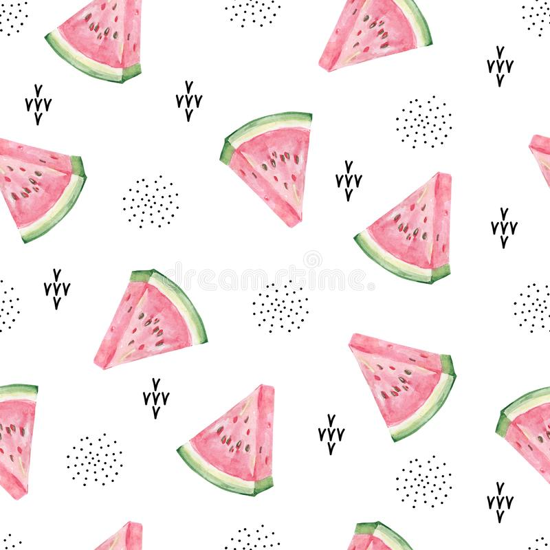 Watercolor cute abstract watermelon and doodle dots, line. Aquarelle cute background vector illustration