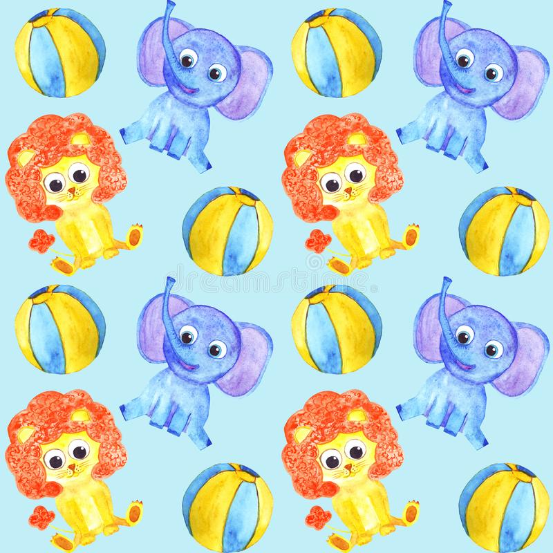 Watercolor cute animals elephant, lion and balls seamless pattern stock illustration