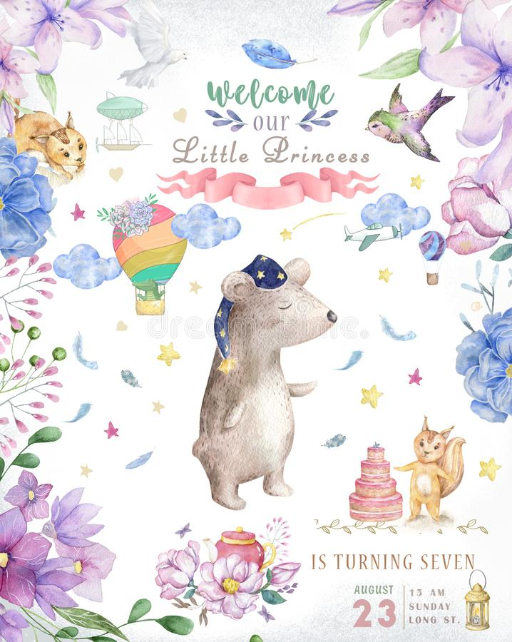 Watercolor cute baby Bear with light and boho flowers and floral bouquets Birthday set. Cartoon clip art for greeting card royalty free illustration
