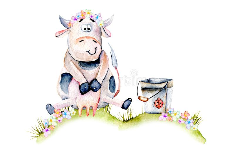 Watercolor cute cartoon cow sitting on a meadow near the bucket, ladybug and simple flowers vector illustration