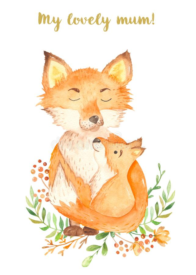 Watercolor cute cartoon fox mom and baby stock image
