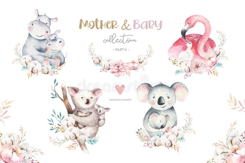 Watercolor cute cartoon illustration with cute mommy flamingo and baby, flower leaves. Mother hippo and baby vector illustration