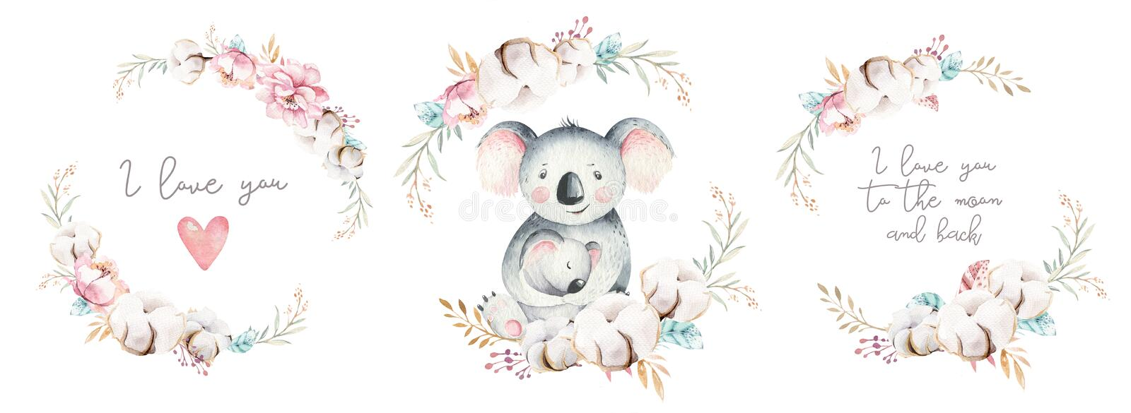 Watercolor cute cartoon little baby and mom koala with floral wreath. Isolated tropical illustration. Mother and baby royalty free illustration